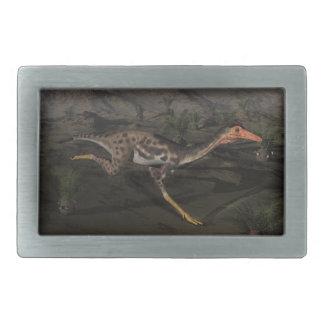 Mononykus dinosaur by night rectangular belt buckles