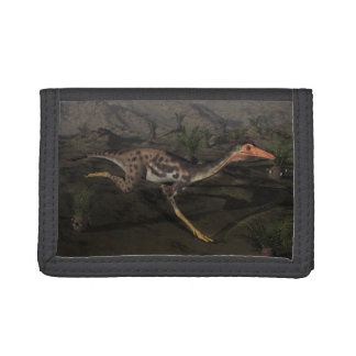 Mononykus dinosaur by night trifold wallets