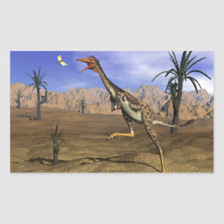 Mononykus dinosaur hunting - 3D render Rectangular Sticker
