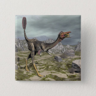 Mononykus dinosaur in the desert - 3D render 15 Cm Square Badge