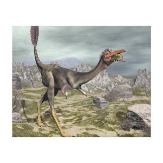 Mononykus dinosaur in the desert - 3D render Canvas Print