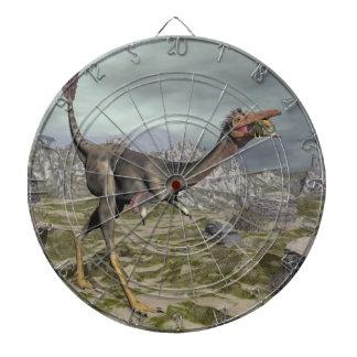 Mononykus dinosaur in the desert - 3D render Dartboard