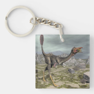 Mononykus dinosaur in the desert - 3D render Double-Sided Square Acrylic Key Ring