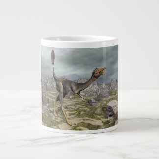 Mononykus dinosaur in the desert - 3D render Large Coffee Mug
