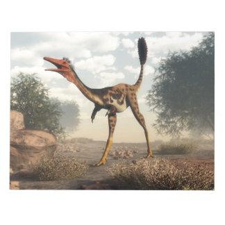 Mononykus dinosaur in the desert - 3D render Notepad