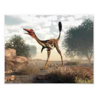 Mononykus dinosaur in the desert - 3D render Photo Print