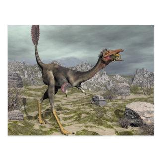 Mononykus dinosaur in the desert - 3D render Postcard