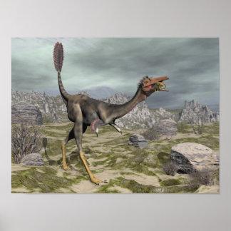 Mononykus dinosaur in the desert - 3D render Poster