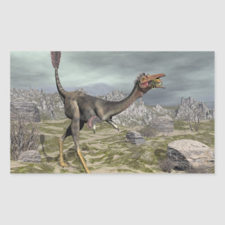 Mononykus dinosaur in the desert - 3D render Rectangular Sticker