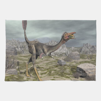 Mononykus dinosaur in the desert - 3D render Tea Towel