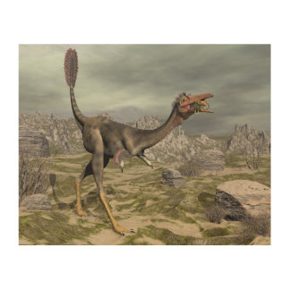 Mononykus dinosaur in the desert - 3D render Wood Canvases