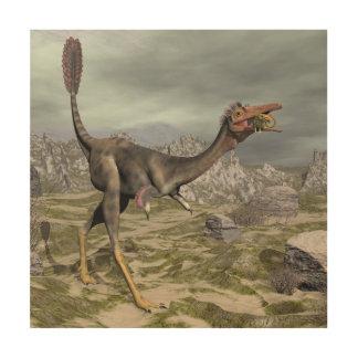 Mononykus dinosaur in the desert - 3D render Wood Print