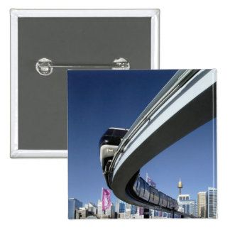 Monorail in Darling Harbor, Sydney, Australia 15 Cm Square Badge