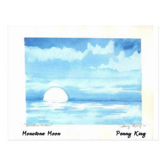 Monotone Moon Original Watercolor Painting Postcard