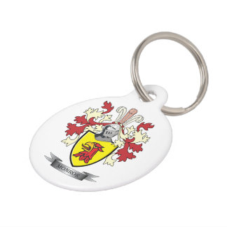 Monroe Family Crest Coat of Arms Pet ID Tag