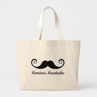 Monsieur Mustache design with curly moustache Bags
