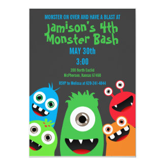 Monster Bash Kids Birthday Party Invitations