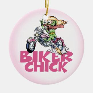 Monster Biker Chick Ceramic Ornament