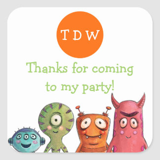 Monster Birthday Party Thank You Stickers