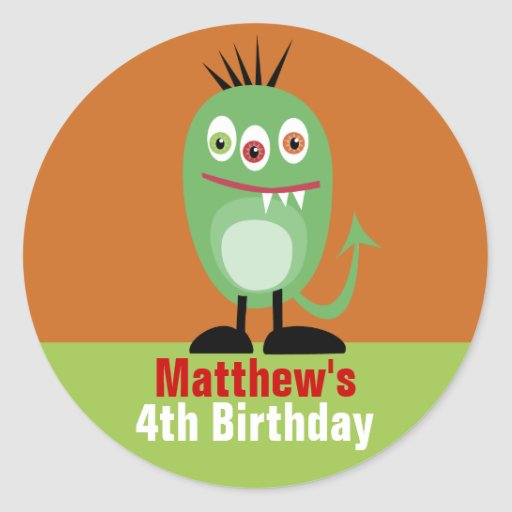 Monster Birthday Stickers Labels