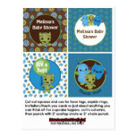 MONSTER Boy Baby Shower Cupcake Topper Peek a Boo Post Cards