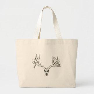 Monster buck deer skull tote bags
