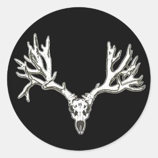Monster buck deer skull round sticker
