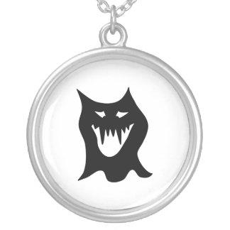 Monster Cartoon, Black. Round Pendant Necklace