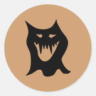 Monster Cartoon, Black. Round Sticker