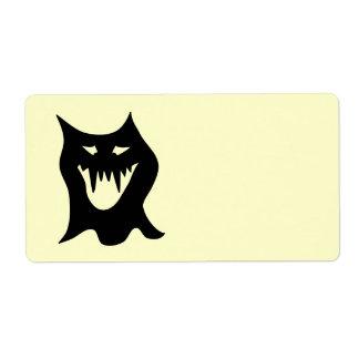 Monster Cartoon, Black. Shipping Label