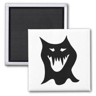 Monster Cartoon, Black. Square Magnet