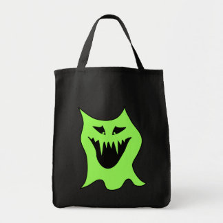 Monster Cartoon. Green and Black. Tote Bags