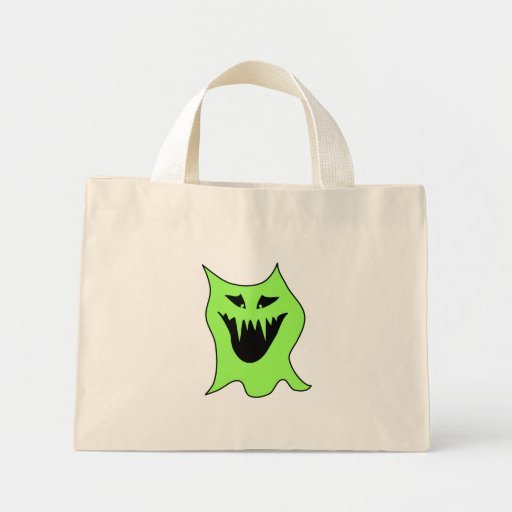 Monster Cartoon. Green and Black. Canvas Bag