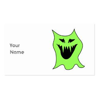 Monster Cartoon. Green and Black. Business Card