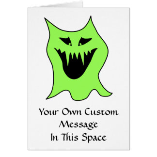 Monster Cartoon. Green and Black. Greeting Card