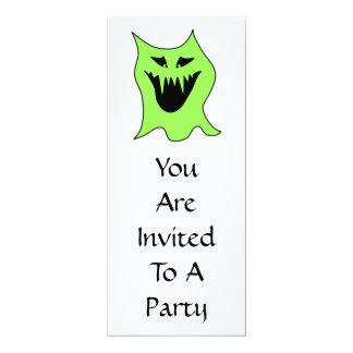 Monster Cartoon. Green and Black. 10 Cm X 24 Cm Invitation Card
