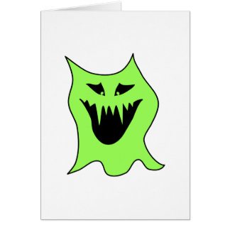 Monster Cartoon. Green and Black. Note Card