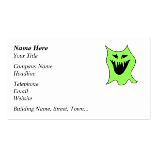 Monster Cartoon. Green and Black. Pack Of Standard Business Cards