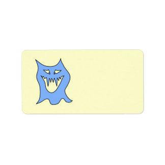 Monster Cartoon in Blue. Address Label