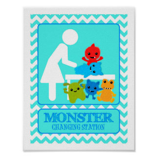 Monster Changing Station Diaper Baby Monsters Poster