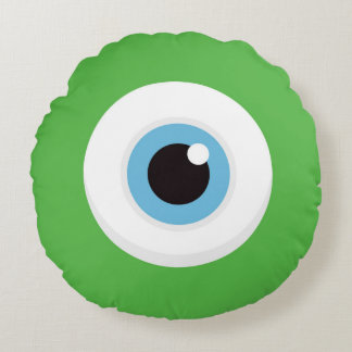 Monster eye throw pillow - round and green