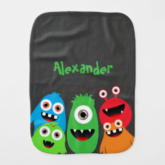 Monster Friends Baby Burp Cloth