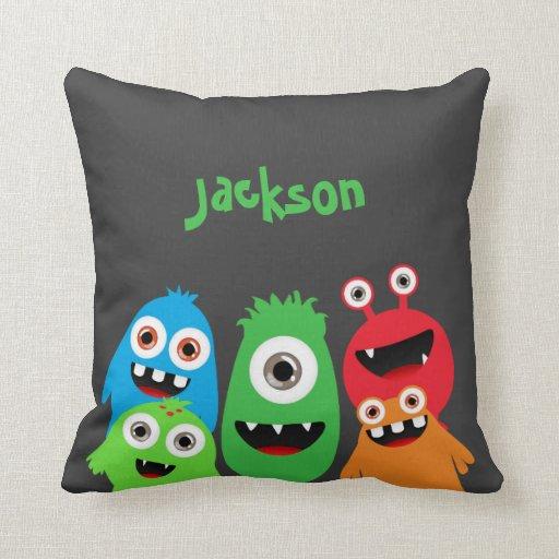 Monster Friends Throw Pillow