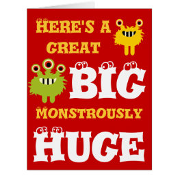 Giant birthday cards invitations zazzle monster great big huge 8 x 11 happy birthday card bookmarktalkfo Choice Image