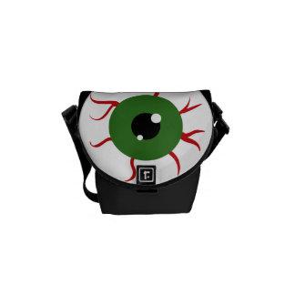Monster Green Bloodshot Eyeball Messenger Bag