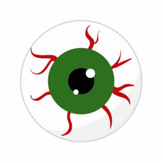 Monster Green Bloodshot Eyeball Photo Sculptures