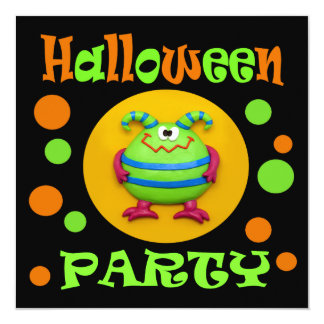 """Monster Halloween Party 5.25"""" Square Invitation Card"""