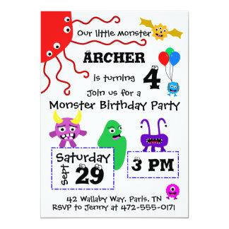Monster Kid's Birthday Invitation - Light