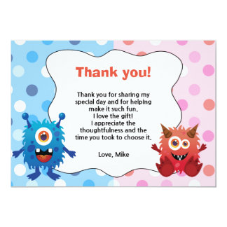 Monster Kids Birthday Thank You Card 13 Cm X 18 Cm Invitation Card
