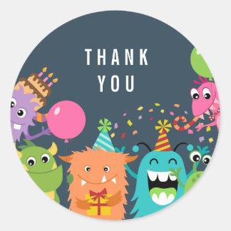 MONSTER MASH birthday party thank you sticker